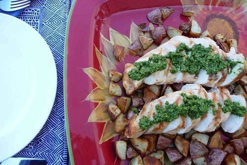 Grilled Chicken with Spinach-Chive Pesto