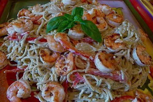 Shrimp & Basil Carbonara-ish
