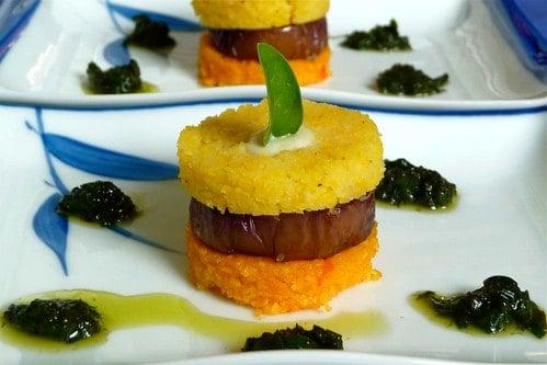 Eggplant & Polenta Stacks with Fresh Basil Sauce