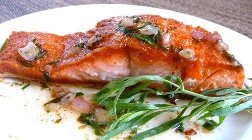 Salmon with Tarragon & Shallot Butter Sauce