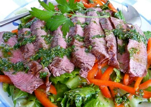 Grilled Flank Steak Recipe with Chimichurri Dressing
