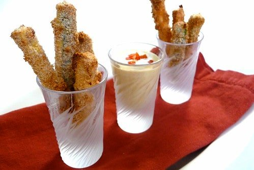 Baked Zucchini Fries with Feta & Roasted Red Pepper Dipping Sauce