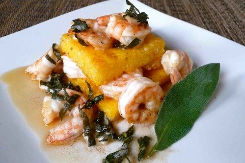 Garlic Shrimp & Parmesan Polenta Stacks with Brown Butter-Sage Sauce Recipe