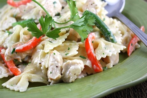 Pasta in a Lemon Cream Sauce with Chicken, Green Beans & Red Pepper Recipe
