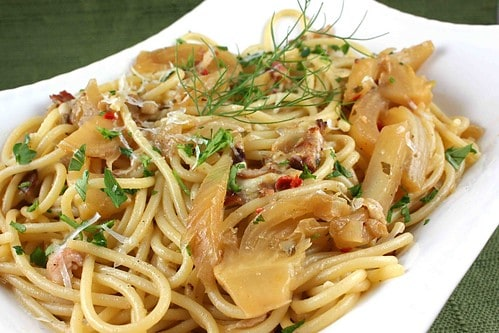 Spicy Spaghetti with Fennel, Pancetta & Parmesan Cheese Recipe