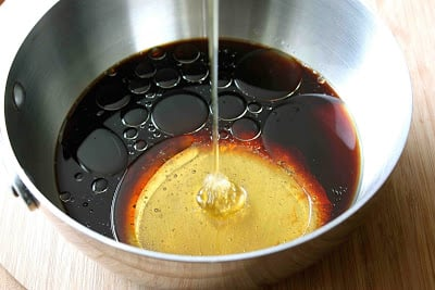 Honey, soy sauce and oil in a saucepan