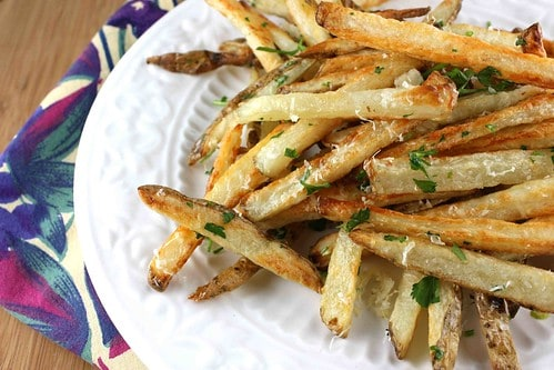Baked French Fries Recipe with Garlic, Parsley, and Parmesan Cheese