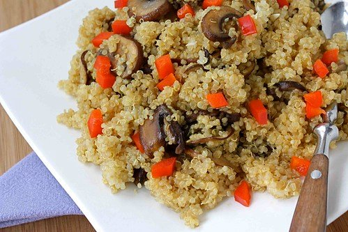 Quinoa with Caramelized Crimini Mushrooms, Soy Sauce & Ginger Recipe