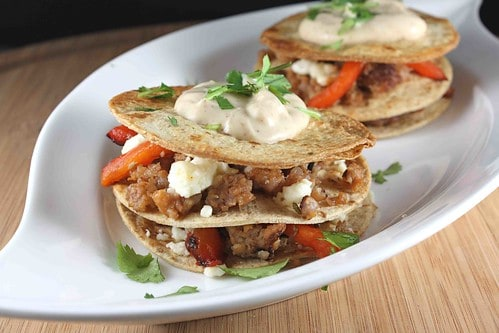 Whole Wheat Tortilla Stacks Recipe with Italian Sausage, Roasted Red Peppers & Feta Cheese