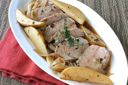 Pork Tenderloin with Pear, Shallot, & Vermouth Sauce Recipe