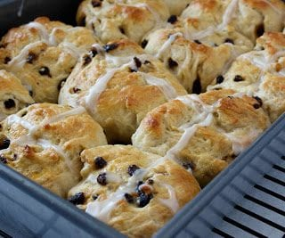 Hot cross buns are a welcome traditional addition to an Easter brunch. The soft buns are wonderful served warm with a pat of butter.