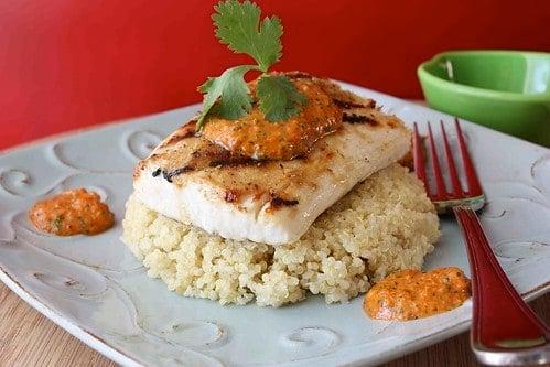 Grilled Mahi Mahi with Red Pepper & Cilantro Pesto Recipe