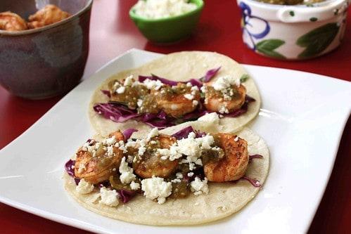 Roasted Tomatillo Shrimp Tacos Recipe with Honey-Lime Slaw