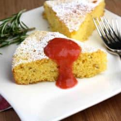Cornmeal, Rosemary & Lemon Cake with Rhubarb & Strawberry Sauce Recipe