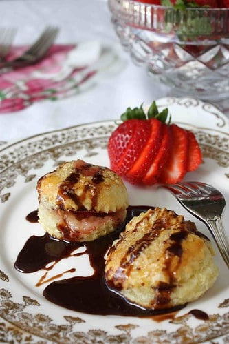 """Flaky Brie Cheese & Strawberry Puff Pastry """"Ravioli"""" Recipe with Chocolate Sauce"""