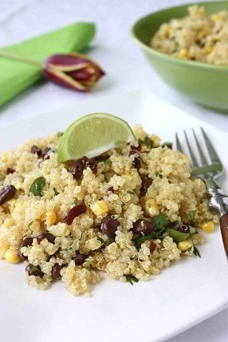Quinoa with Black Beans, Corn & Chipotle Pepper, Lime & Honey Dressing Recipe
