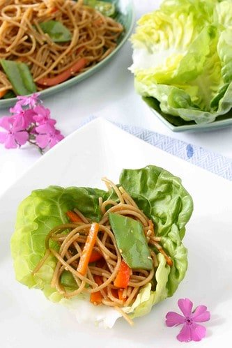 Soba Noodle & Vegetable Lettuce Wraps with Hoisin Chili Sauce Recipe