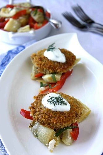 Pan-Fried Bulgur Cakes Recipe with Artichoke, Red Pepper & Myzithra Cheese Salad & Dill Yogurt