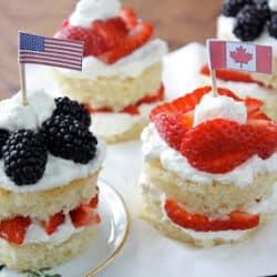 Blackberry & Strawberry Lemon Cakes Recipe for Fourth of July & Canada Day