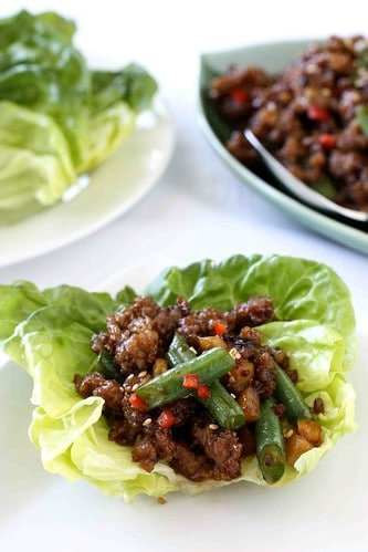 Pork & Green Bean Lettuce Wraps Recipe with Hoisin & Sesame Sauce
