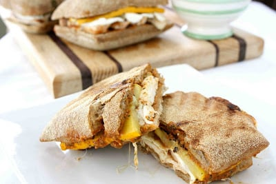 Grilled chicken panini with squash.