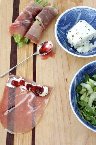 Prosciutto, Goat Cheese & Cherry Jam Rolls Recipe