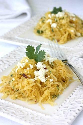 Southwestern Spaghetti Squash Recipe with Chipotle Peppers, Cilantro & Queso Fresco Cheese