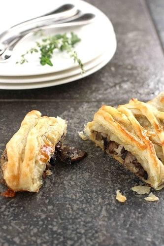 Three Mushroom, Camembert Cheese & Thyme Puff Pastry Strudel Recipe