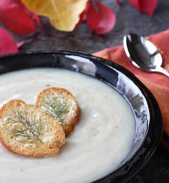 Spicy Potato & Fennel Soup Recipe with Parmesan Bagel Croutons
