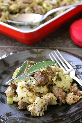Thanksgiving Bread Stuffing with Sausage & Herbs Recipe