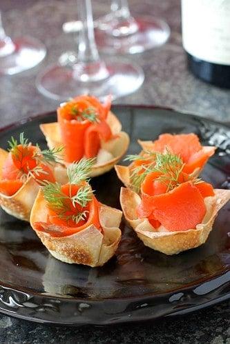 Smoked Salmon & Horseradish Mascarpone in Wonton Cups Recipe | cookincanuck.com