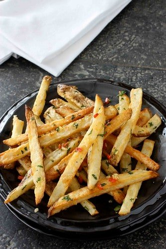 Baked French Fries Recipe with Chile Peppers & Cilantro