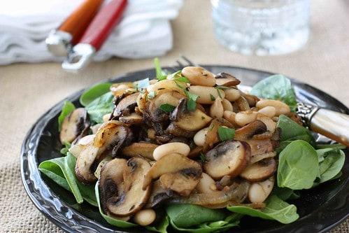 Mushroom, Caramelized Onion & Cannellini Bean Salad Recipe LS