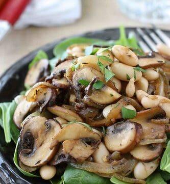 Mushroom, Caramelized Onion & Cannellini Bean Salad Recipe