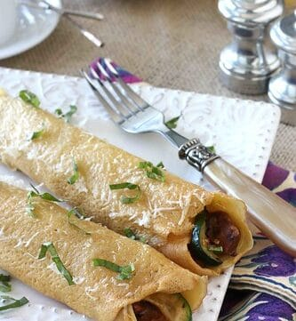 Baked Crepes with Sun-Dried Tomato Sausage, Zucchini & Mascarpone Cheese Recipe
