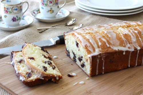 Glazed Lemon and Dried Cherry Quick Bread - ready to eat!
