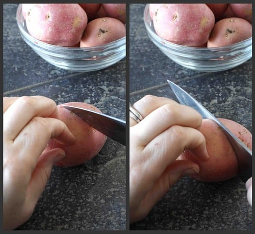 The proper way to cut with a chef's knife.