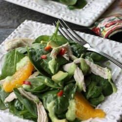 Spinach Salad Recipe with Chicken, Orange & Avocado