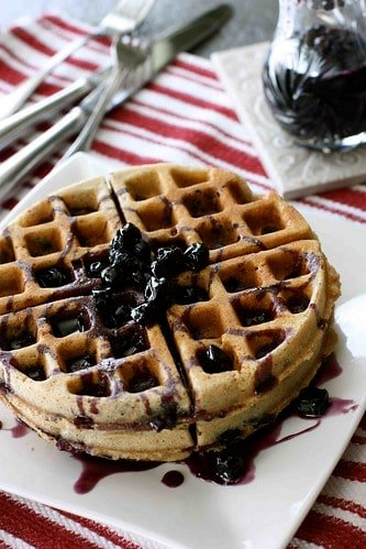 Whole Wheat Waffle Recipe with Blueberry Maple Syrup