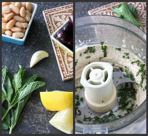 Bean Kalamata Dip Collage