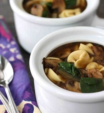 Tortellini Soup with Mushrooms & Spinach Recipe