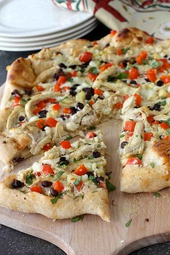 Southwestern Chicken Pizza Recipe with Chipotle Cream Cheese Sauce