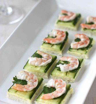 Shrimp, Cucumber & Curry Cream Cheese Canape Recipe