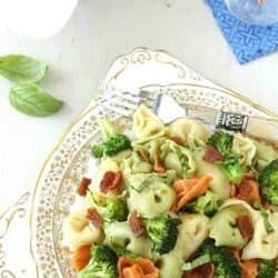 Tortellini Pasta Salad with Bacon, Broccoli & Basil Recipe