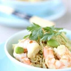 Curry Rice Vermicelli with Shrimp & Edamame Recipe
