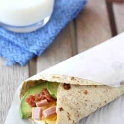 Make-Ahead Egg Wrap Recipe with Ham, Avocado & Salsa