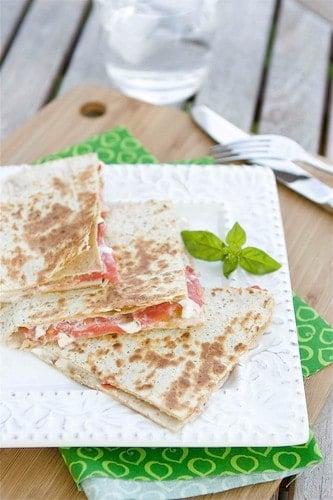 Caprese Quesadilla with Tomato, Mozzarella & Basil Mayonnaise Recipe