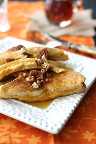 Pumpkin stuffed French toast is a great way to change up any fall or winter brunch get-together. Decadent and delicious!