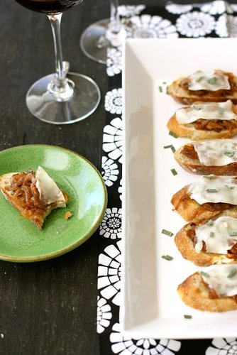 A little sweet, a little savory - these crostini with caramelized onions and melted cheese are the perfect comfort food appetizers.