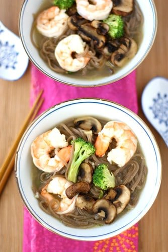 A flavorful, easy lunch or dinner recipe! Keep this Soba Noodle Soup recipe with shrimp in the regular rotation for easy meal time prep. #healthy #cleaneating